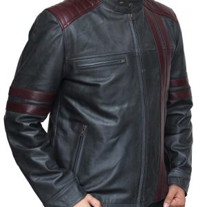 Nashville Men Burgundy Wine Stripe Black Cafe Racer Fashionable Leather Jacket