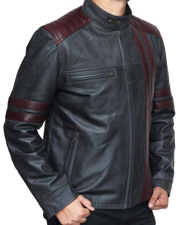 Nashville Men Burgundy Wine Stripe Black Cafe Racer Fashionable Leather Jacket
