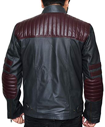 Nashville Men Burgundy Wine Stripe Black Cafe Racer Fashionable Leather Jacket back side