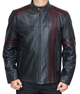 Nashville Men Burgundy Wine Stripe Black Cafe Racer Fashionable Leather Jacket look