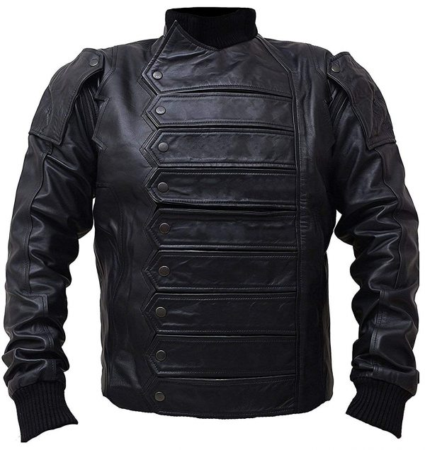 New Avengers Infinity War Black Bucky Barnes with Detachable Sleeves Real & Faux Leather Jacket