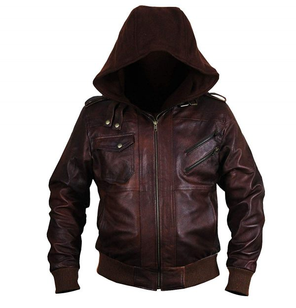 New Brown Genuine Bomber Style Removable Hood Leather Jacket