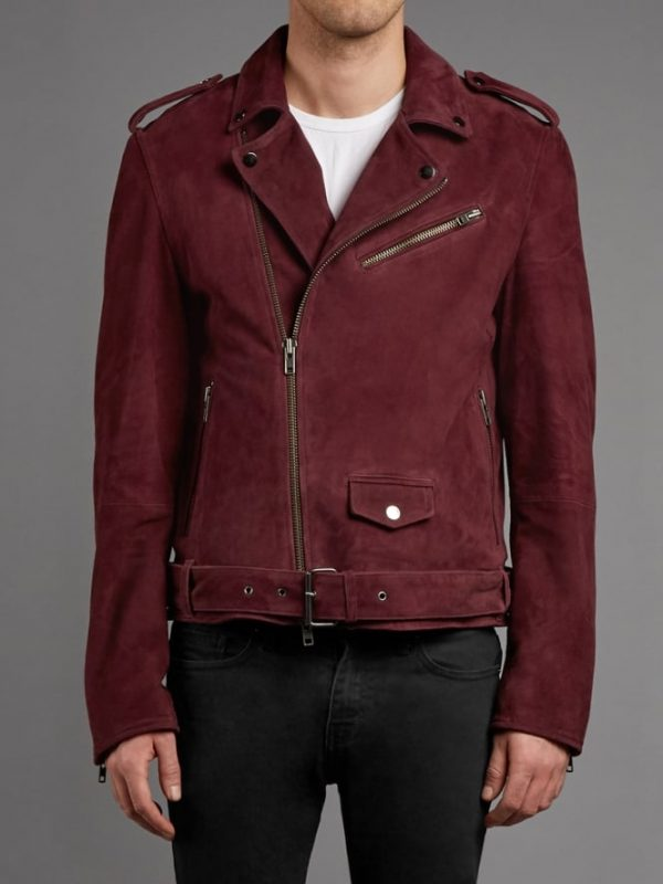 New Burgundy Double Rider Leather Jacket
