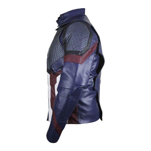 New Captain America Steve Rogers Avengers Endgame Blue Leather Jacket side look