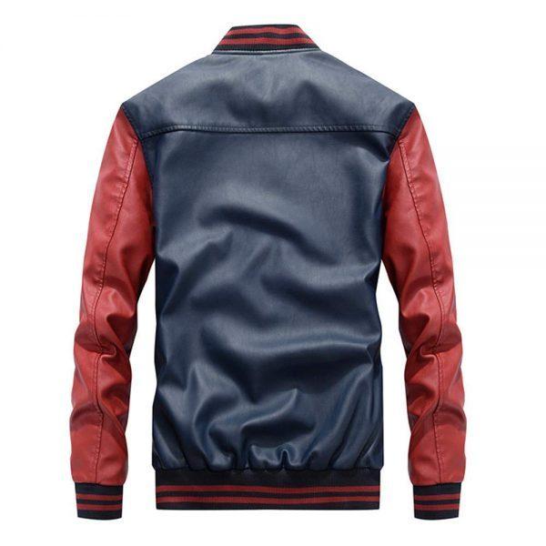 New Embroidery Baseball Varsity Faux Leather Slimfit Autumn Winter Jacket back side