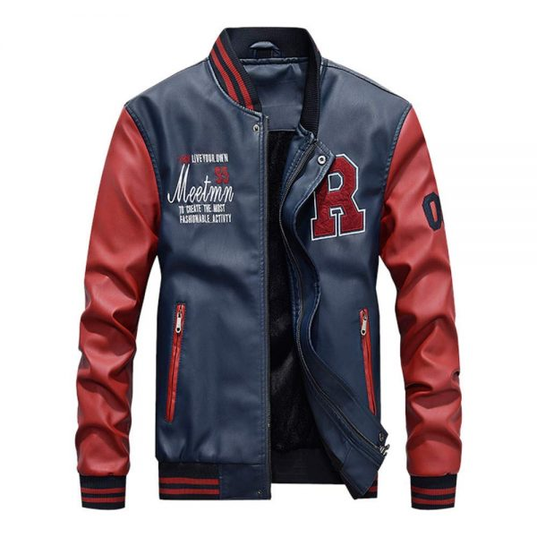 New Embroidery Baseball Varsity Faux Leather Slimfit Autumn Winter Jacket front