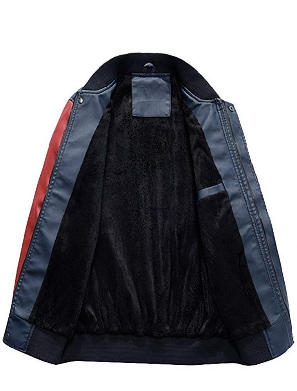 New Embroidery Baseball Varsity Faux Leather Slimfit Autumn Winter Jacket inner