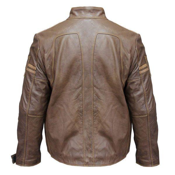 Racer Welding Brown Distressed Vintage Leather Jacket back look