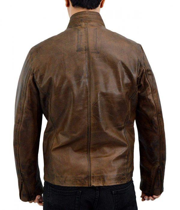 Rampage Dwayne Johnson Distressed Brown Leather Jacket back side