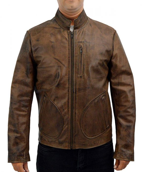 Rampage Dwayne Johnson Distressed Brown Leather Jacket front side