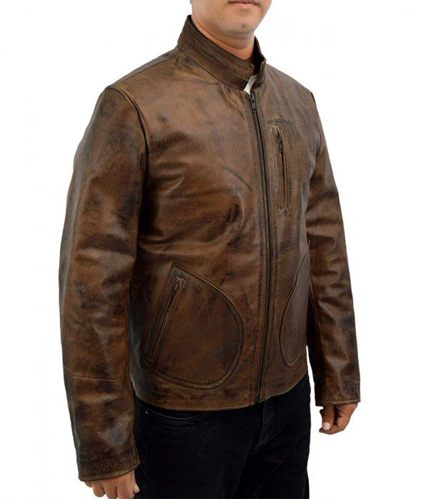Rampage Dwayne Johnson Distressed Brown Leather Jacket side