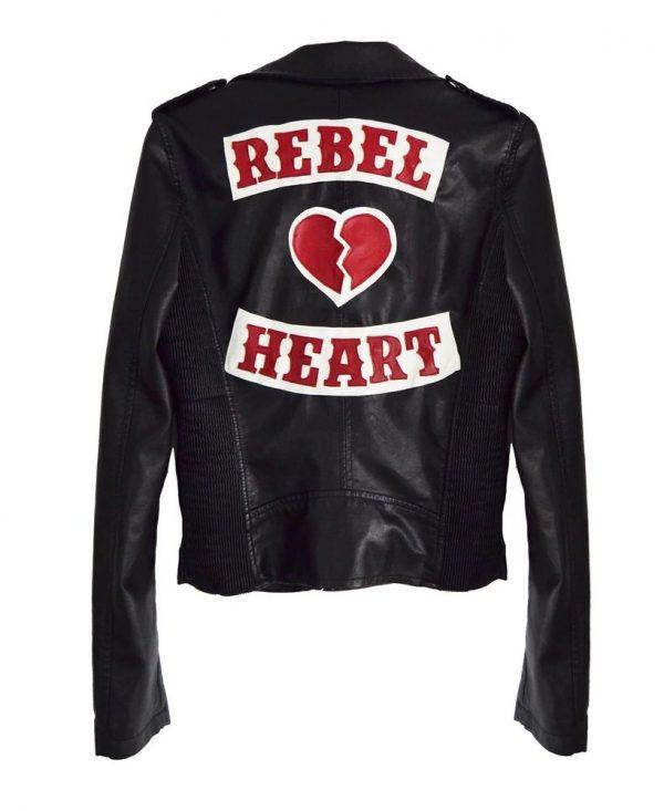 Rebel Heart Moto Black Leather Jacket back side