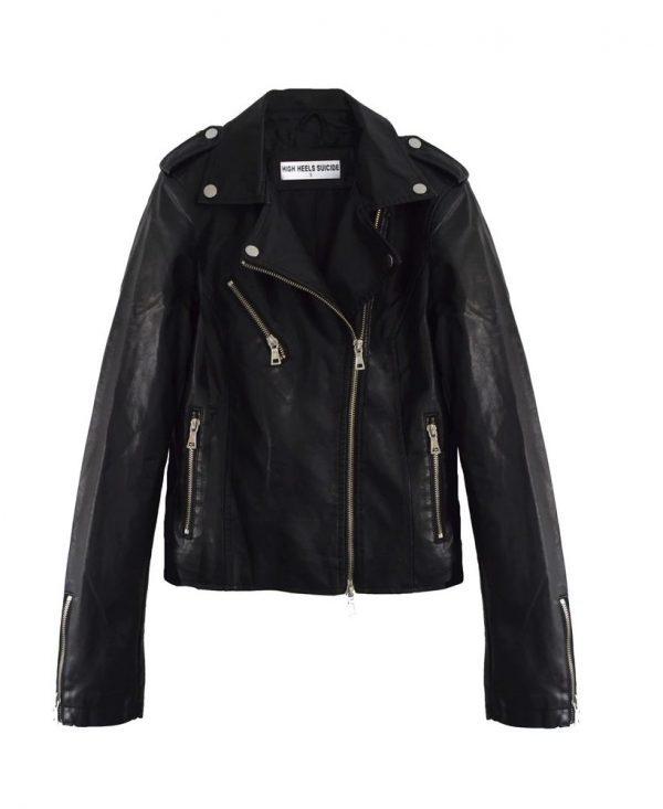 Rebel Heart Moto Black Leather Jacket front side