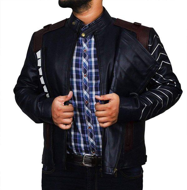 Sebastian Stan Infinity Winter Soldier Bucky Blue Faux War Leather Jacket