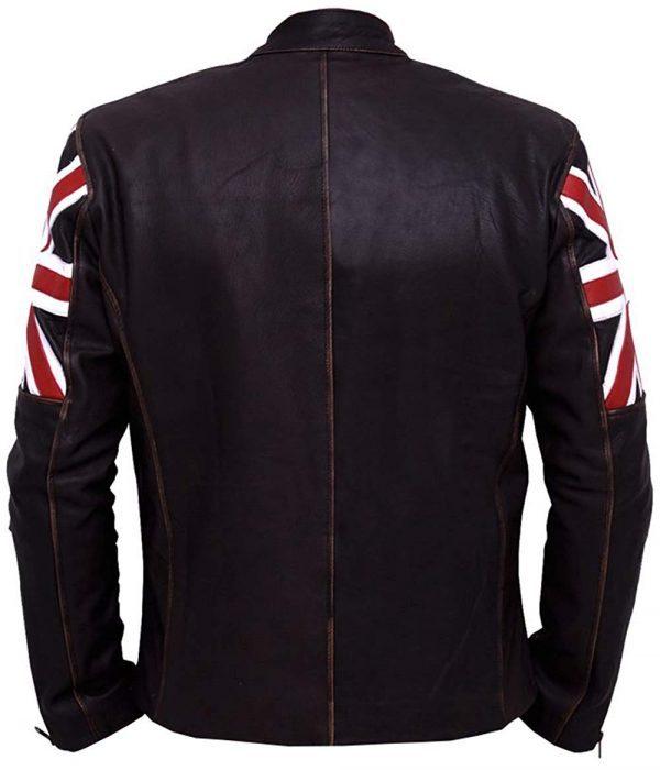 Slim Fit UK Flag Distressed Brown Leather Jacket back side