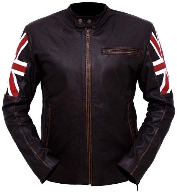 Slim Fit UK Flag Distressed Brown Leather Jacket look
