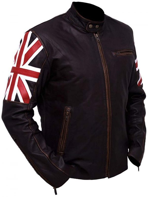 Slim Fit UK Flag Distressed Brown Leather Jacket right side