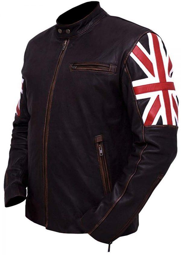 Slim Fit UK Flag Distressed Brown Leather Jacket side look