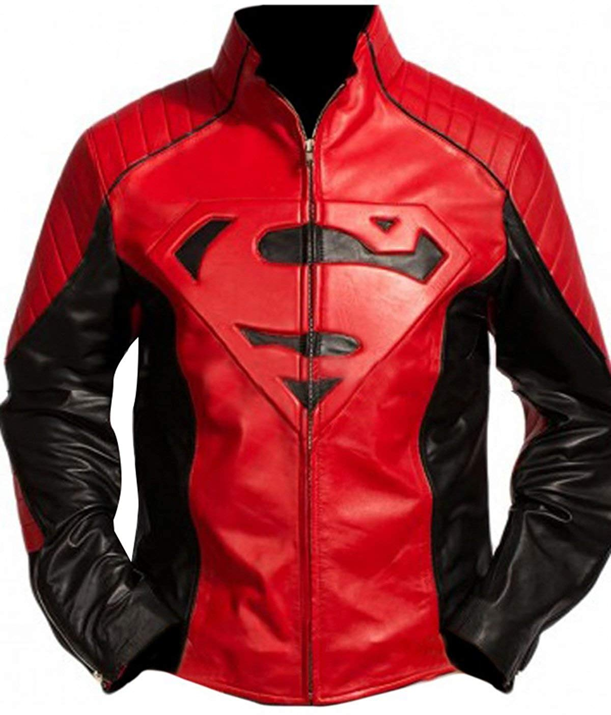 cc9b5a380 Tom Welling Superman Smallvile Red and Black Biker Leather Bomber Jacket