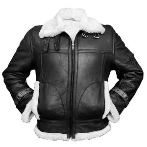 The Aviator RAF B3 Sheepskin Black Bomber Flying Leather Jacket