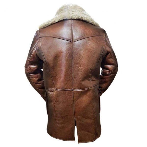 Tom Hardy Bane Dark Knight Lambskin Genuine Leather Pea Coat back side