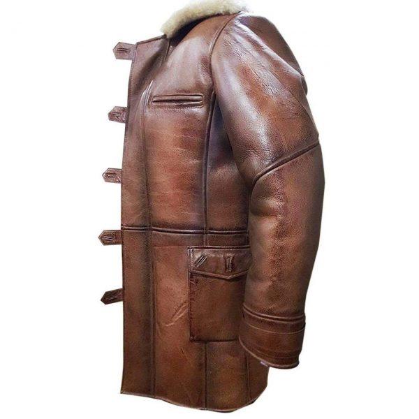 Tom Hardy Bane Dark Knight Lambskin Genuine Leather Pea Coat