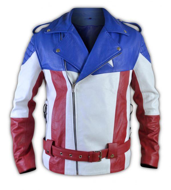 United States of America USA Flag Biker Leather Jacket