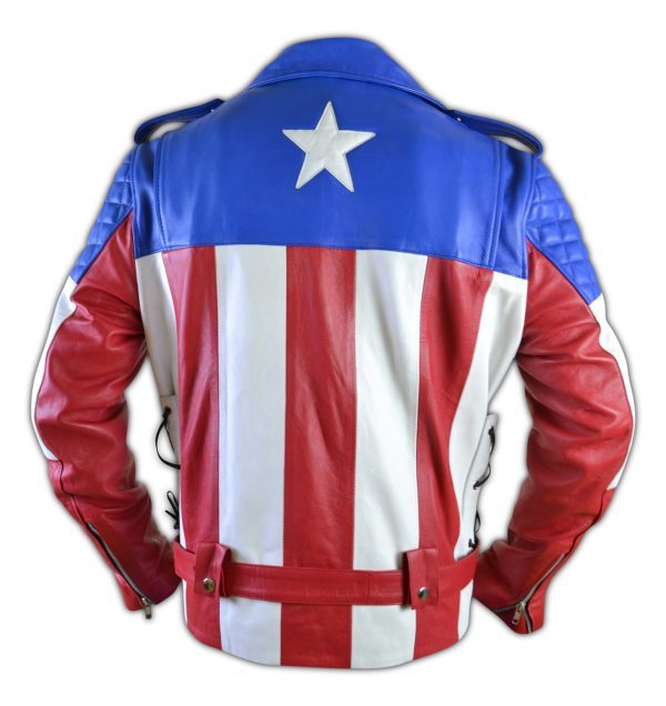 United States of America USA Flag Biker Leather Jacket back side