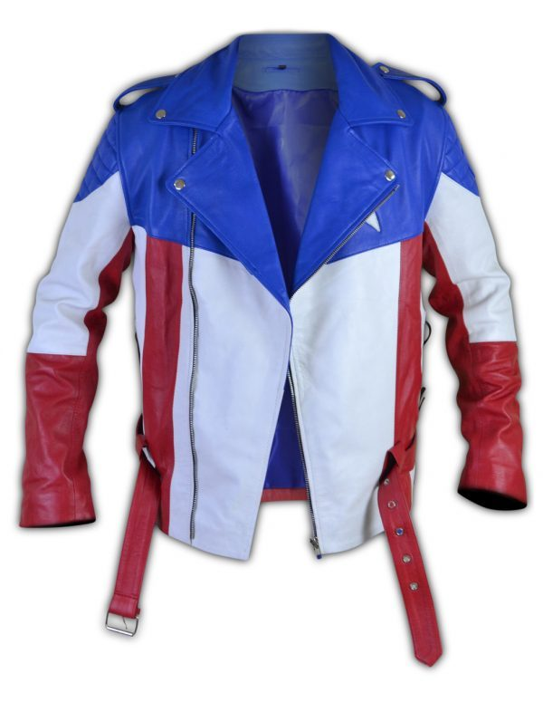 United States of America USA Flag Biker Leather Jacket front side