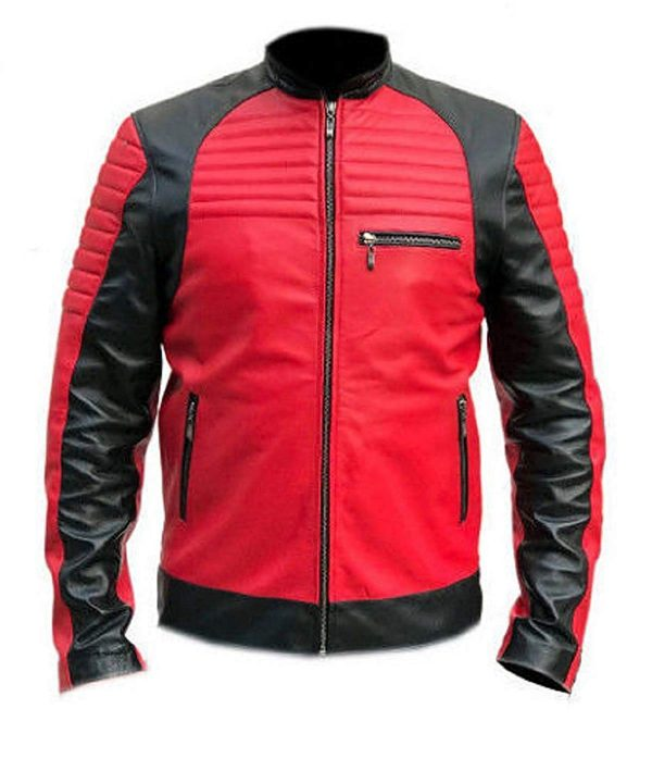 Vintage Café Racer Red and Black Retro Leather Jacket