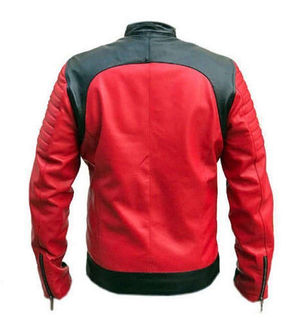 Vintage Café Racer Red and Black Retro Leather Jacket back side