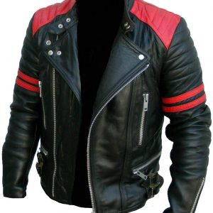 Vintage Men's Brando Classic Biker Real Leather Jacket