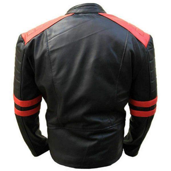 Vintage Men's Brando Classic Biker Real Leather Jacket back side