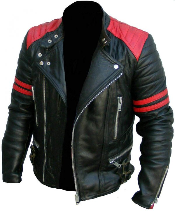 Vintage Men's Brando Classic Biker Real Leather Jacket front look