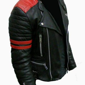 Vintage Men's Brando Classic Biker Real Leather Jacket side look
