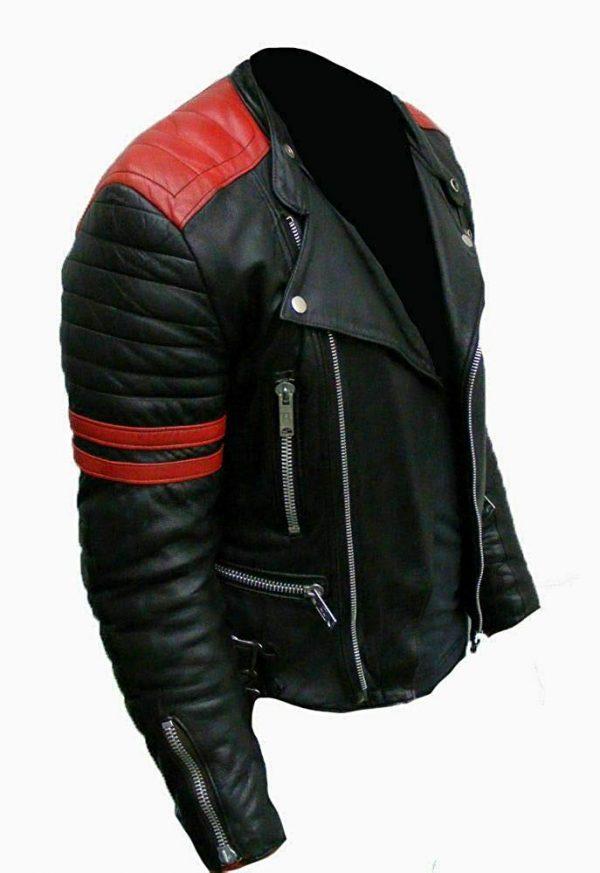 Vintage Men's Brando Classic Biker Real Leather Jacket side look