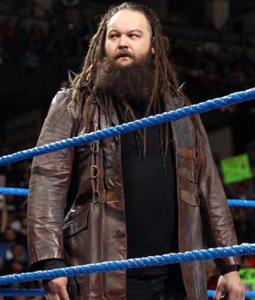 WWE Bray Wyatt Brown Leather Jacket front