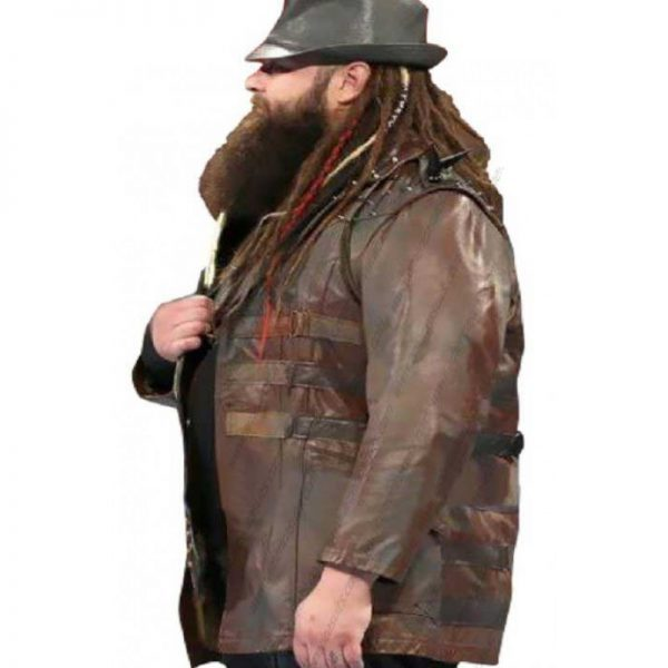WWE Bray Wyatt Brown Leather Jacket look