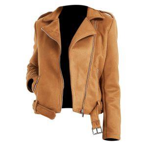 Women Genius Brown Biker Leather Jackets
