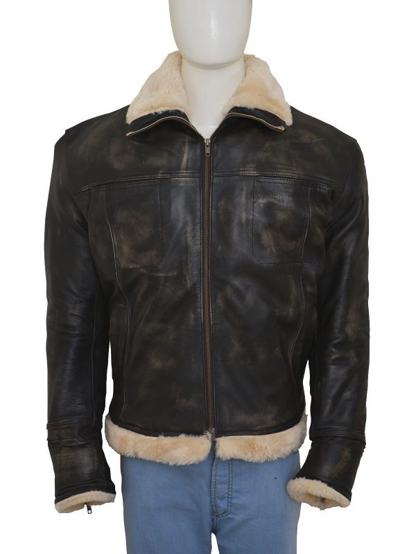 XXX Xander Cage Vin Diesel Distressed Fur Leather Jacket close