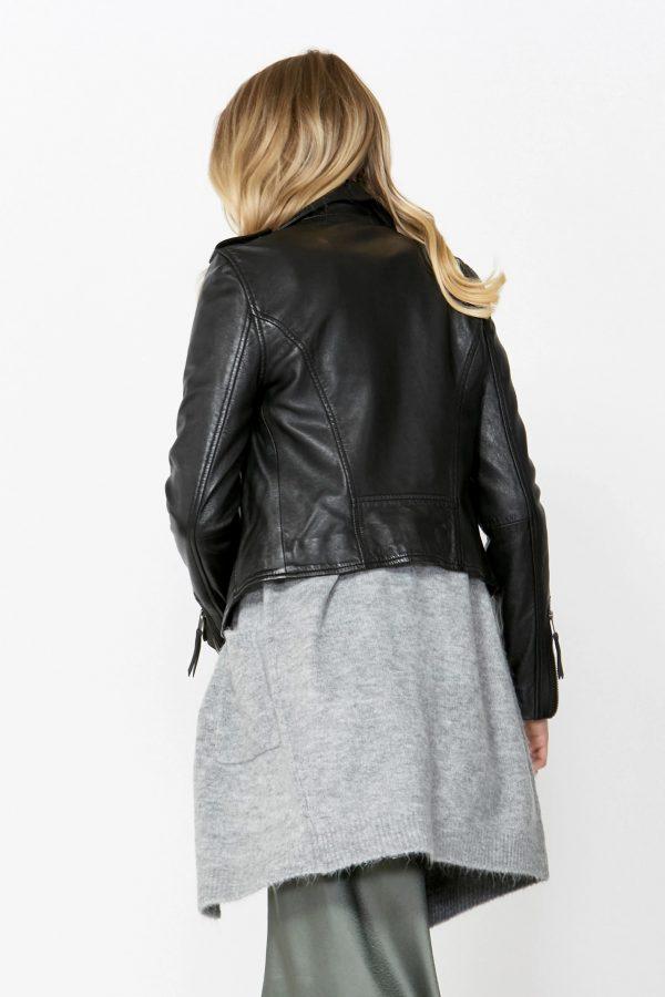 Frankie Biker Black Leather Jacket back
