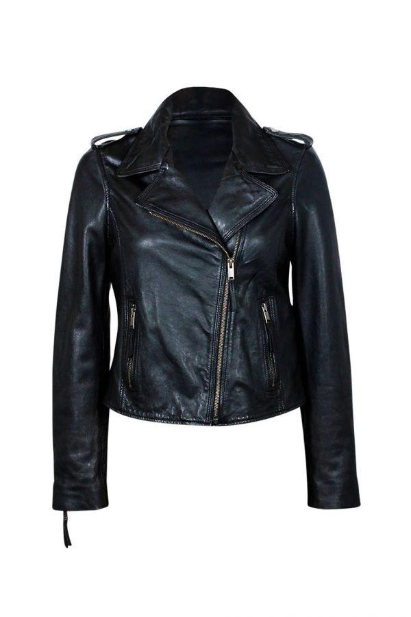 Frankie Biker Black Leather Jacket front