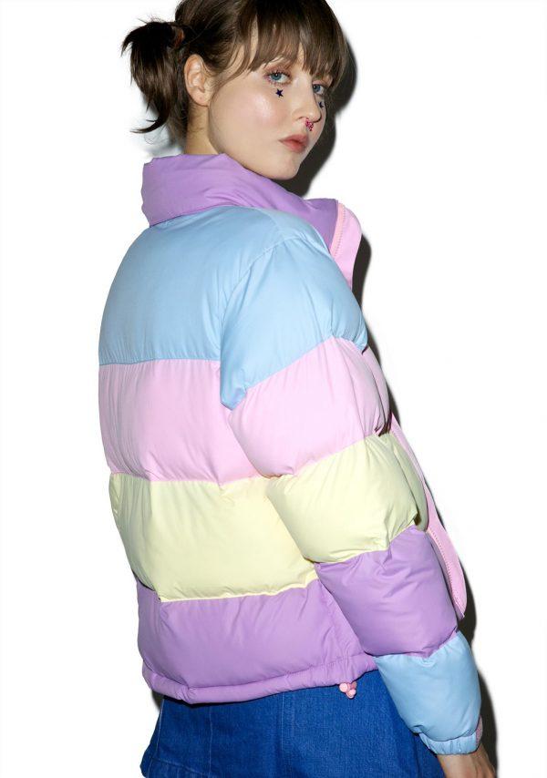 Lazy Oaf Pastel Panel Puffer Jacket back side