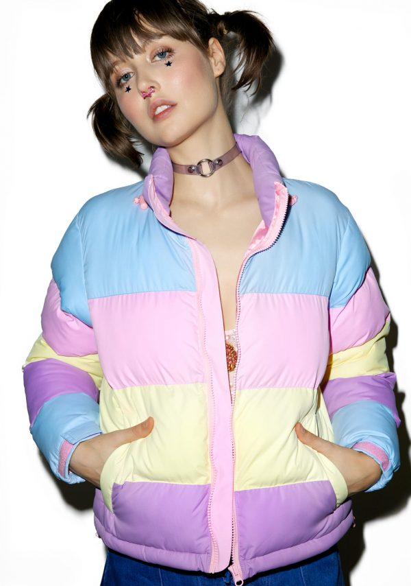 Lazy Oaf Pastel Panel Puffer Jacket front