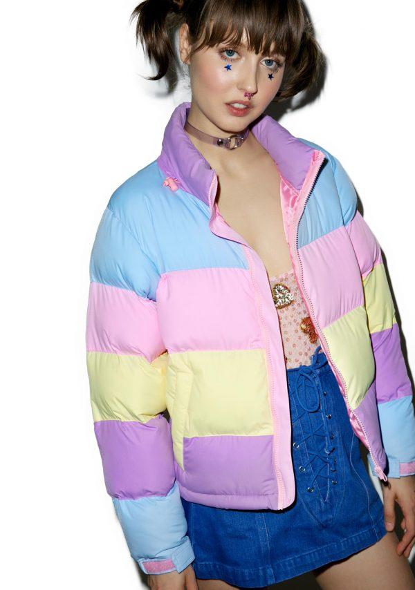 Lazy Oaf Pastel Panel Puffer Jacket side