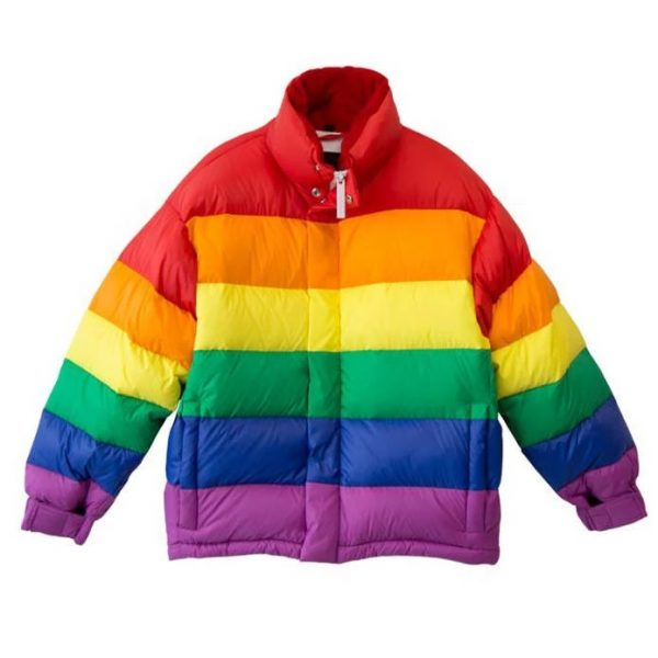 Rainbow Feather Down Puffer Jacket front