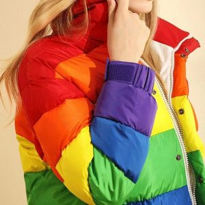 Rainbow Feather Down Puffer Jacket side