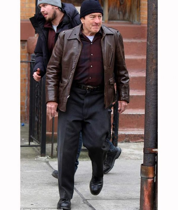 The Irishman Frank Sheeran Brown Leather Jacket side