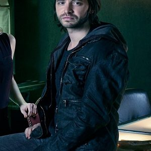 12 Monkeys Aaron Stanford Black Hooded Leather Jacket front