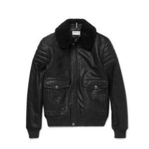 A.P.C. Military Designs Black Bomber Leather Jacket
